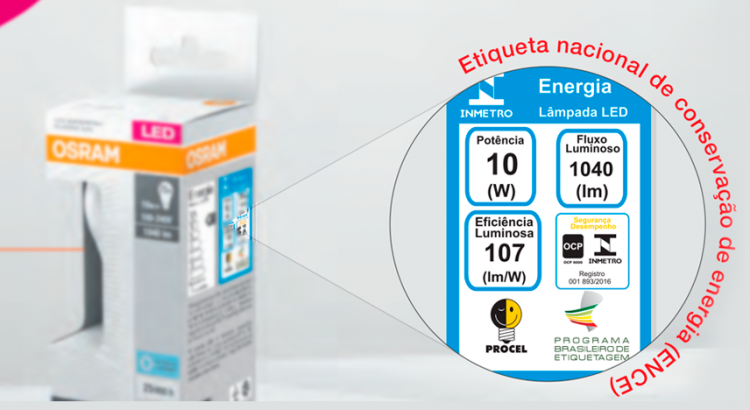indicação cor lampada embalagem